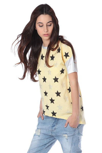 Yellow T-Shirt With Stars Print-Women - Apparel - Shirts - Blouses-Product Details Yellow t-shirt with stars print in soft-touch jersey. Contrast back with round neck and curved dipped hem. Dropped shoulders with short sleeve. After lining up your outfit choices it's clear to see that the yellow t-shirt is the best choice!-Keyomi-Sook
