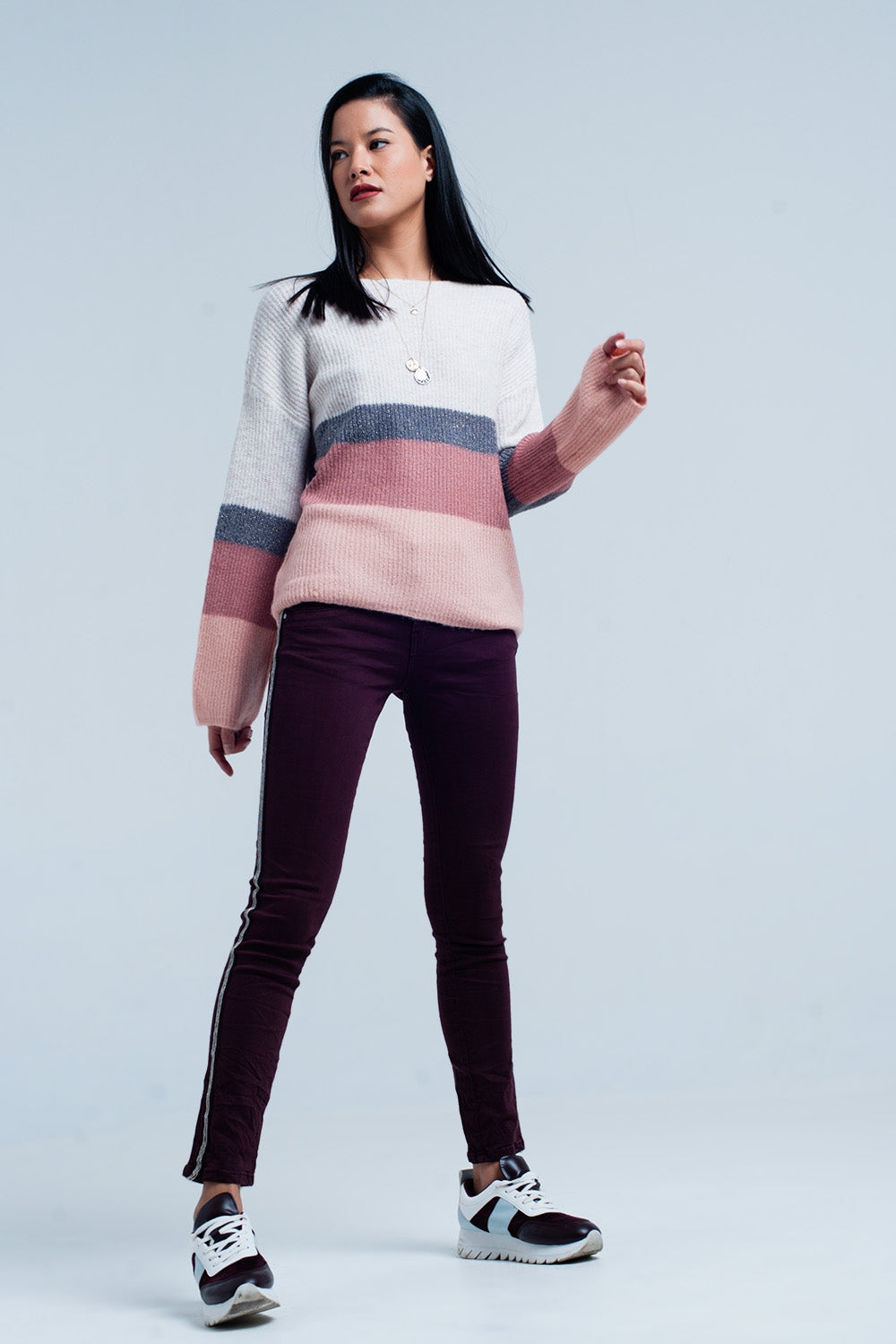 Pink Striped Sweater With Glitter Lurex-Women - Apparel - Sweaters - Pull Over-Product Details This glamorous pullover is nice and soft and chunky knitted. The pullover has wide long sleeves and a round neck. The pattern is striped with colors as light pink dark pink cream and silver with glitters. The sweater has a boat neck and is from super comfy and soft mixed fabrics.-Keyomi-Sook