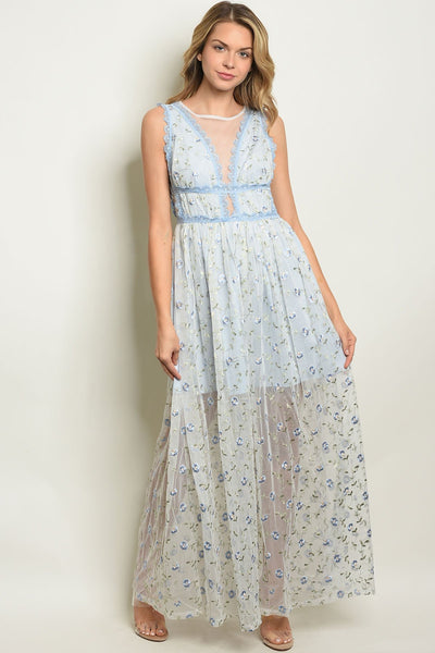 "Blue With Flower Embroidery Dress-Women - Apparel - Dresses - Day to Night-Product Details Sleeveless all over mesh and lace maxi gown. Country: CHINAFabric Content: 100% POLYESTERSize Scale: S-M-LDescription: L: 59"" B: 34"" W: 26""-Keyomi-Sook"