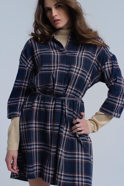 Navy Checked Midi Dress-Women - Apparel - Dresses - Day to Night-L-Keyomi-Sook