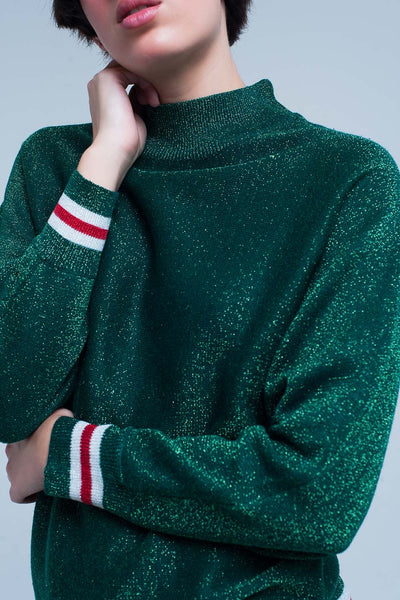 Green Glitter Sweater With Mock Neck-Women - Apparel - Sweaters - Pull Over-L-Keyomi-Sook