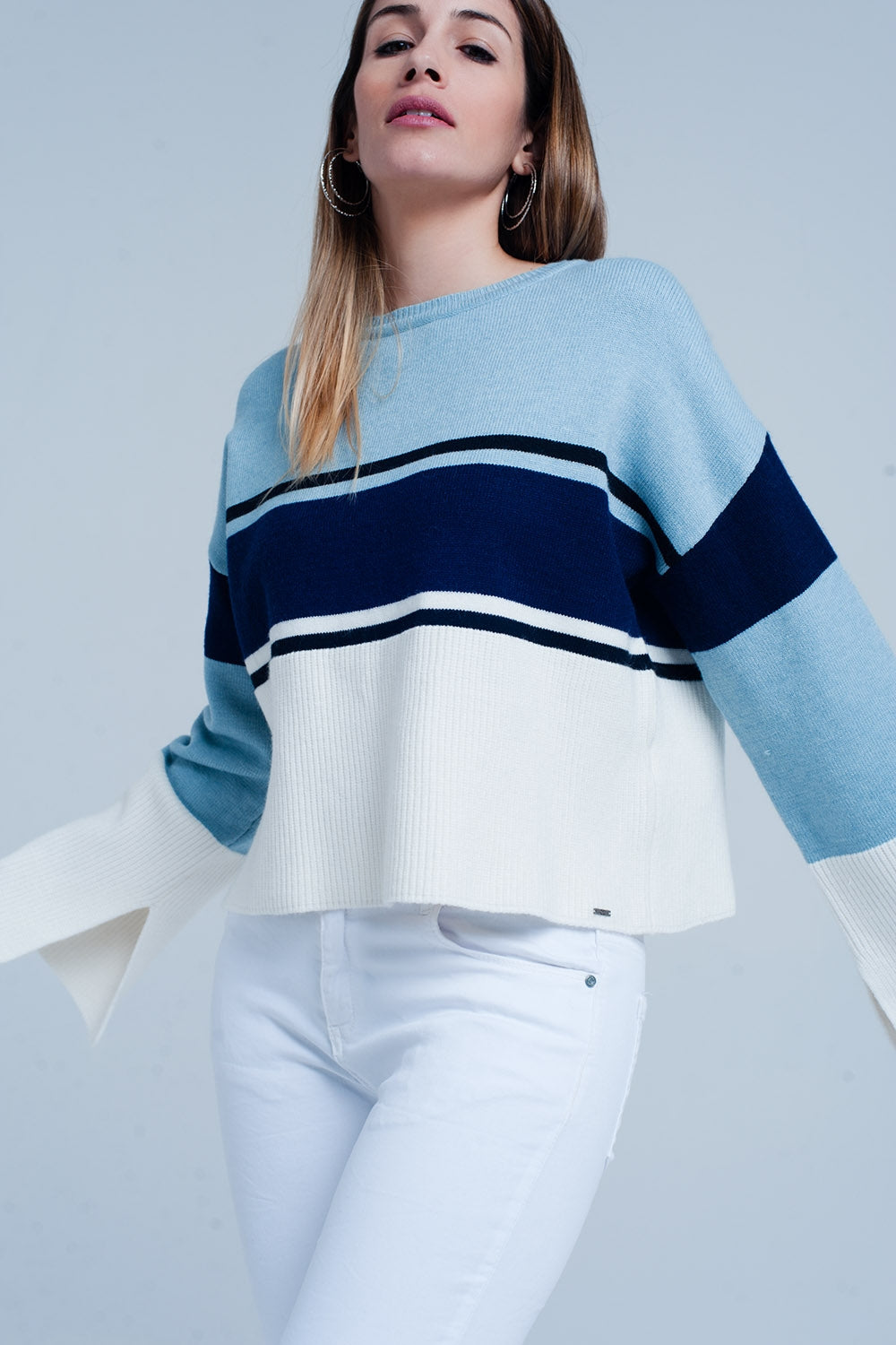 Blue Striped Sweater With Flare Sleeves-Women - Apparel - Sweaters - Pull Over-Product Details Loose fitting jumper of a strong mix of fabrics striped in light blue and dark blue with a ribbed knit edge on the hip and sleeve endings in cream color. The pullover has a round crew neck and long and wide flare sleeves.-Keyomi-Sook