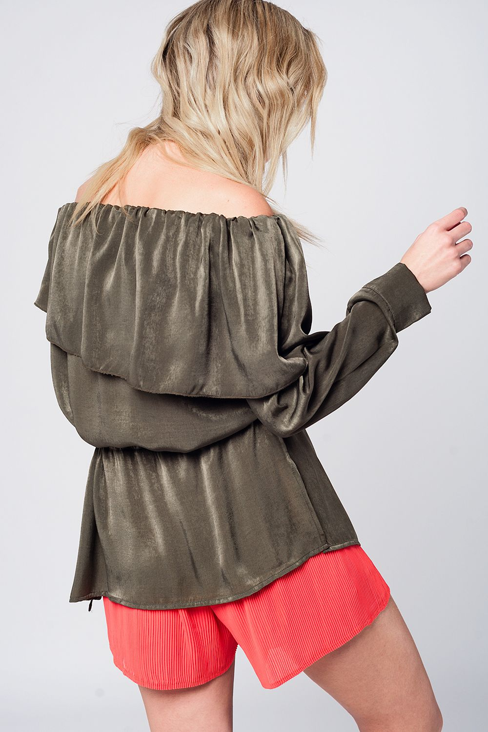 Soft Green Blouse With Drawstring-Women - Apparel - Shirts - Blouses-Product Details Soft off shoulder blouse with long sleeves. The top has a string as a belt around the waist and a button on the cuffs.-Keyomi-Sook
