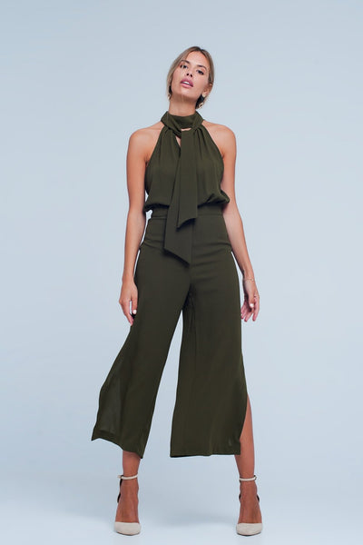 Khaki Jumpsuit With Back Bow-Women - Apparel - Dresses - Day to Night-Large-Keyomi-Sook