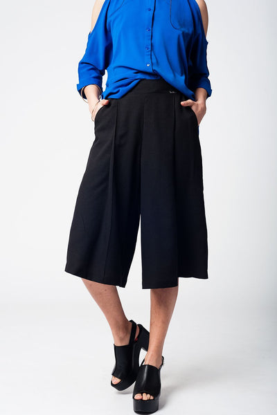 Black Pants Skirt With Silver Buttons-Women - Apparel - Pants - Trousers-Medium-Keyomi-Sook