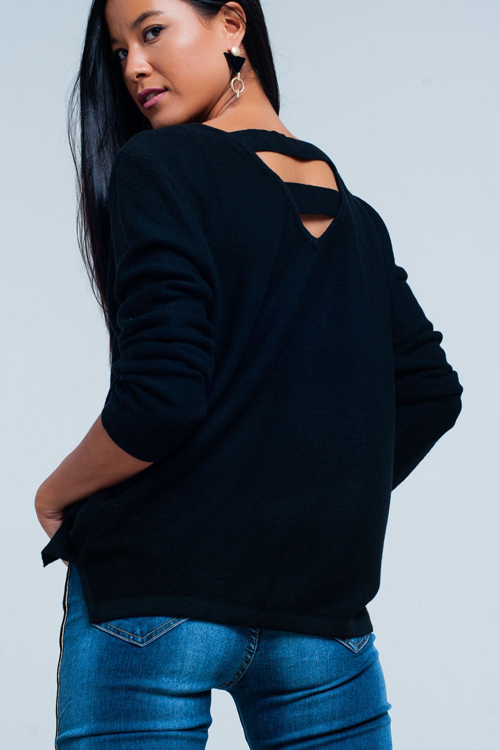 Black Sweater With Strappy Open Back-Women - Apparel - Sweaters - Pull Over-Product Details Super soft 'in between' sweater of very light fabric with wool for comfort. The straps in the back make the sweater more exciting and the sizing is regular fit.-Keyomi-Sook