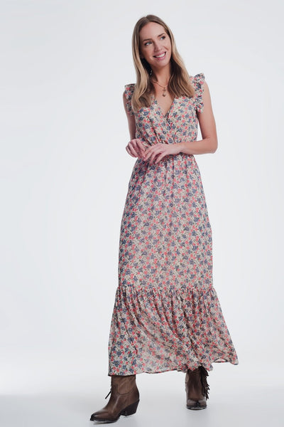 V Neck Maxi Dress in Beige Floral Print-Women - Apparel - Dresses - Maxi-Large-Keyomi-Sook