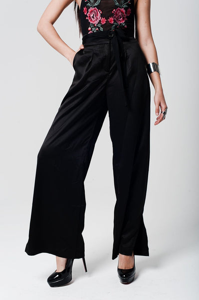 Black Satin High Waist Trousers With Wide Leg-Women - Apparel - Pants - Trousers-Large-Keyomi-Sook