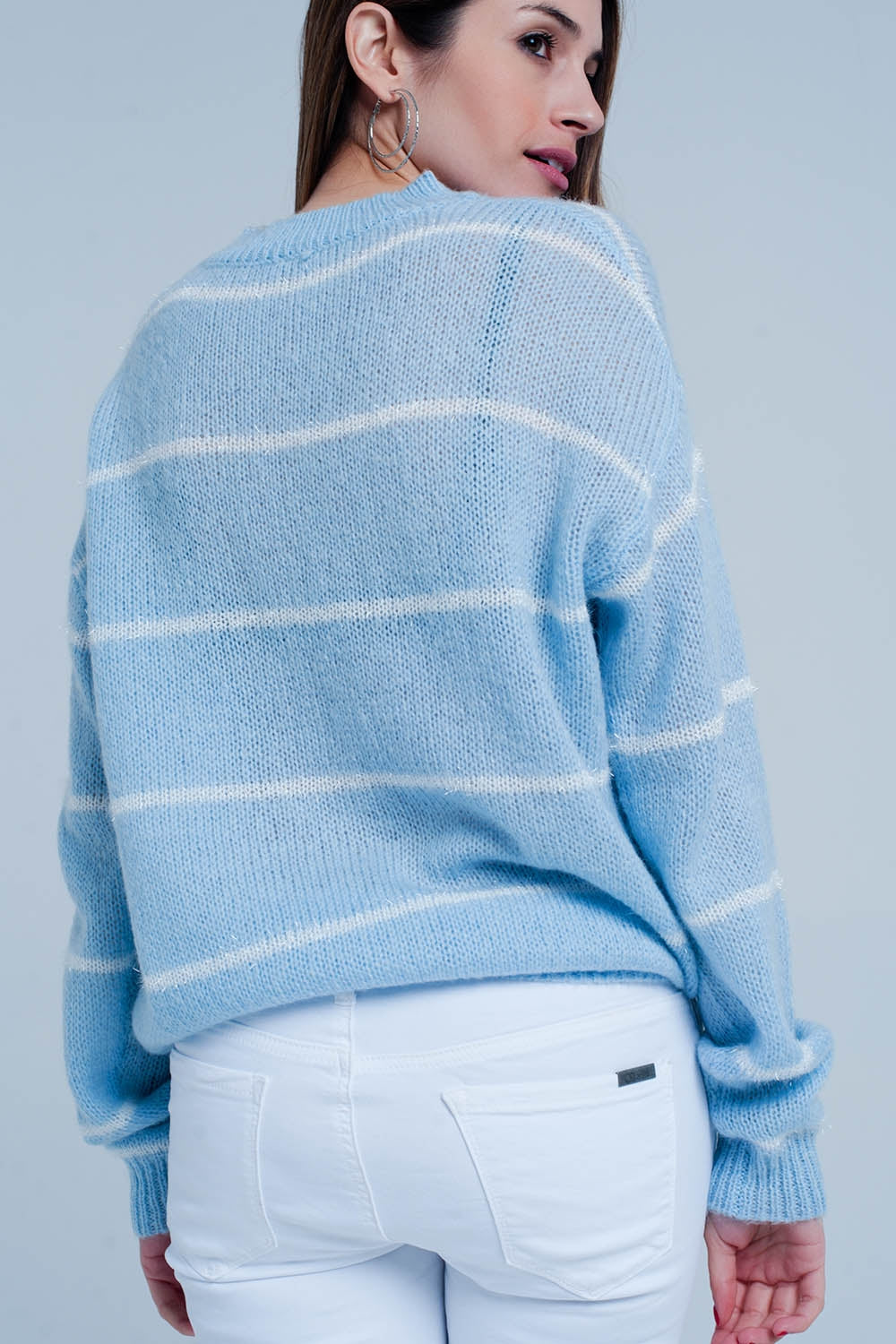 Blue Striped Crew Neck Sweater-Women - Apparel - Sweaters - Pull Over-Product Details Light blue with white striped jumper of a very strong and soft mix of acryl wool and mohair fabrics. The pullover has a round closed neck and long sleeves with on the hip a metal pleated Q2 logo attached.-Keyomi-Sook