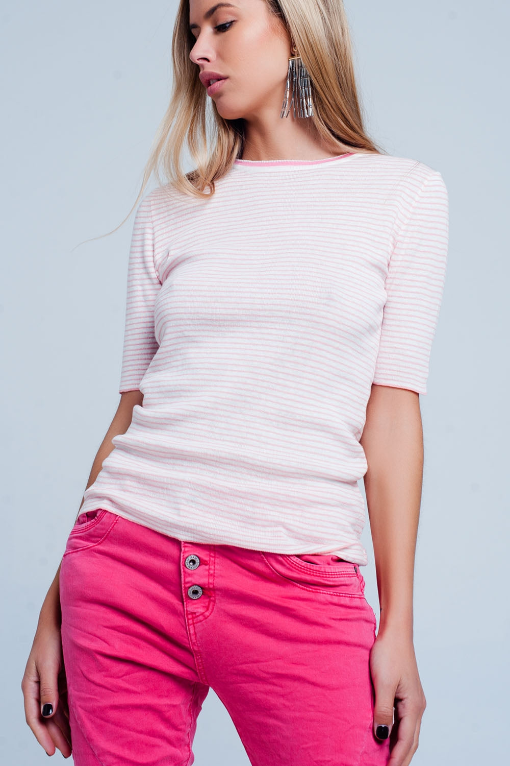 Pink Cropped Sleeve Sweater In Breton Stripe-Women - Apparel - Sweaters - Pull Over-Product Details Stretchy pullover made of comfortable linen and cotton. This pullover has pink and white stripes and is finished off by a thicker band of pink around the neck.-Keyomi-Sook