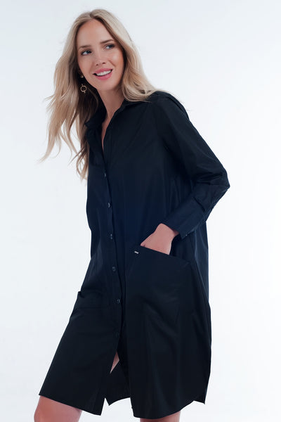 Utility Midi Shirt Dress With Pockets In Black-Women - Apparel - Dresses - Day to Night-M-Keyomi-Sook