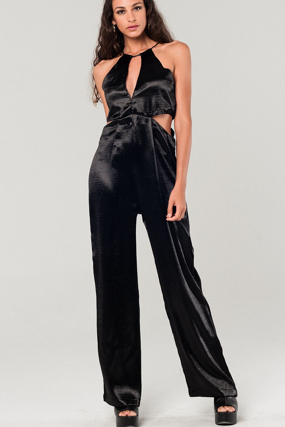 Metallic Black Jumpsuit With Cutout Details-Women - Apparel - Jumpsuits/Rompers-L-Keyomi-Sook