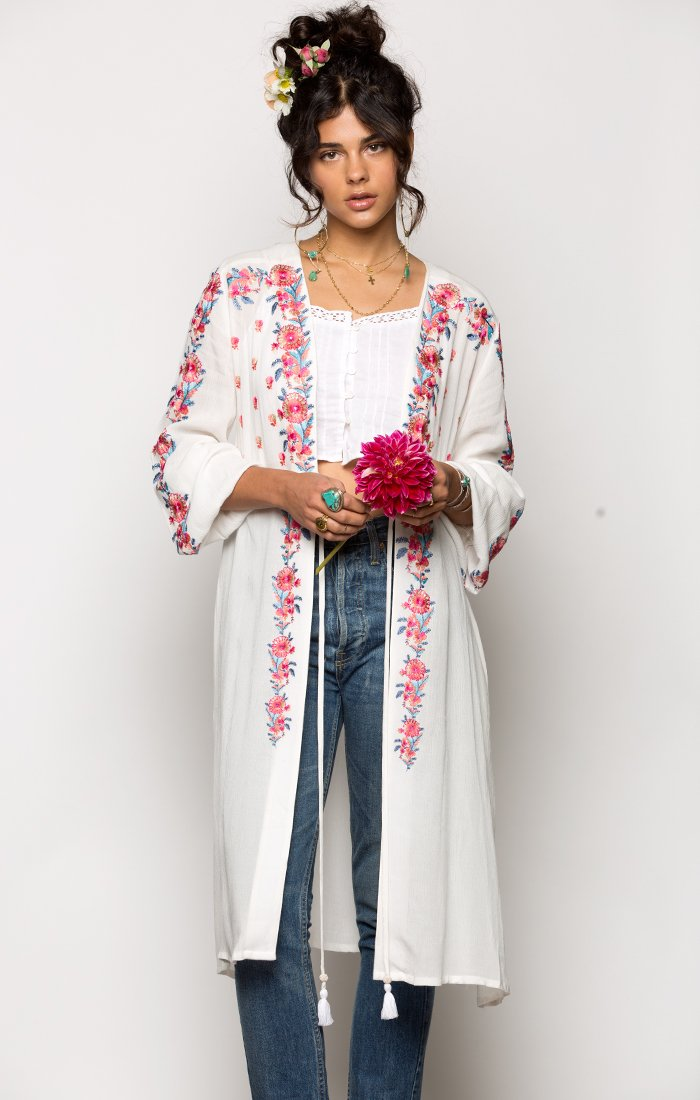 Mariah Robe-Women - Apparel - Swimwear - Cover Ups-Product Details Embroidered Long Sleeve Robe With Tassel Tie Front 100% Viscose Model Is Wearing Size Small Hand Wash Cold, Lay Flat To Dry Easy Measure Conversion XS/0 S/1 M/2 L/3 US 0/2 2/4 6/8 8/10 AUS 4/6 6/8 10/12 12/14 BRAZIL 34/36 36/38 40/42 42/44 CHINA 76a/80a 80a/84a 88a/92a 92a/95a EUP 32/34 34/36 38/40 40/42 JAP 5/7 7/9 11/13 13/15 RUS 42 42/44 46/48 50/52 UK 4/6 6/8 10/12 12/14 Detailed View Size Chart-Keyomi-Sook