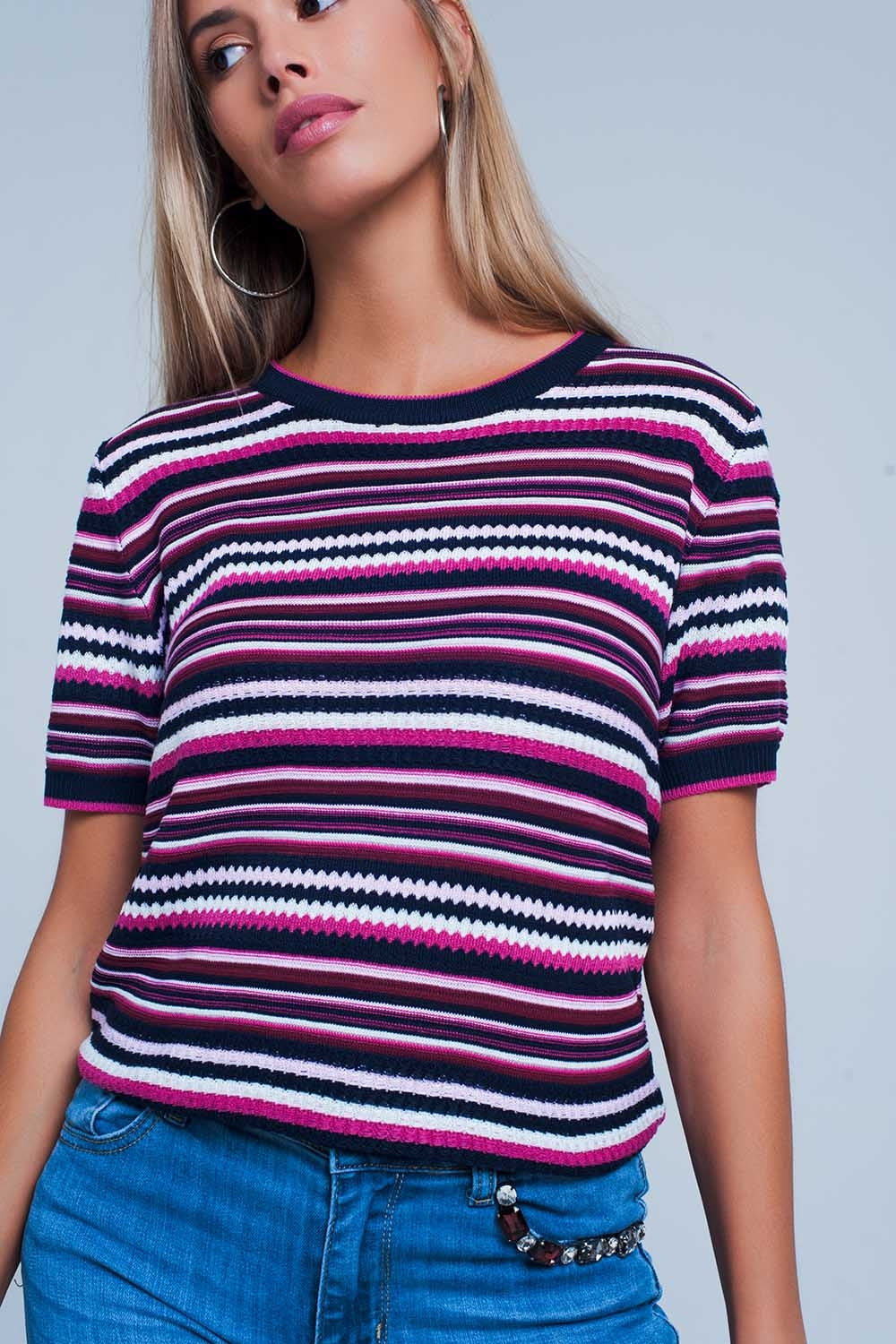 Purple Multi Pattern Short Sleeve Sweater-Women - Apparel - Sweaters - Pull Over-Product Details Pullover made of soft and stretchy polyester. It has wavy and straight stripes and it is finished off by a band of dark blue and fuschia along the hem, cuffs and neck line. This pullover has a round neck and short sleeves.-Keyomi-Sook