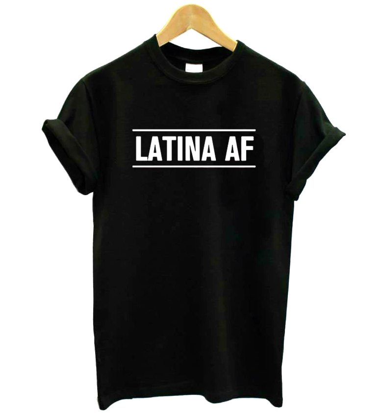 Latina Af Print Women Casual Funny T-Shirt Cotton-Black-S-Keyomi-Sook