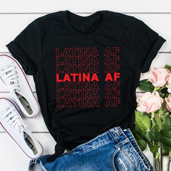 Multi-Colors Latina Af Red Letter Print T-Shirts Pop Graphic Tees S-Xxl-black-red text-L-Product Details Gender: WomenItem Type: TopsTops Type: T-ShirtMaterial: Polyester, COTTONStyle: CasualFabric Type: BroadclothSleeve Length(cm): ShortDecoration: NONEClothing Length: REGULARPattern Type: LetterCollar: O-NeckSleeve Style: REGULARSize: S M L XL XXL XXXLColor: Black White Gray Red Pink Peach Yellow OliveOccasion: Daily LifeGarment Care: wash in cold water only Colors-Keyomi-Sook