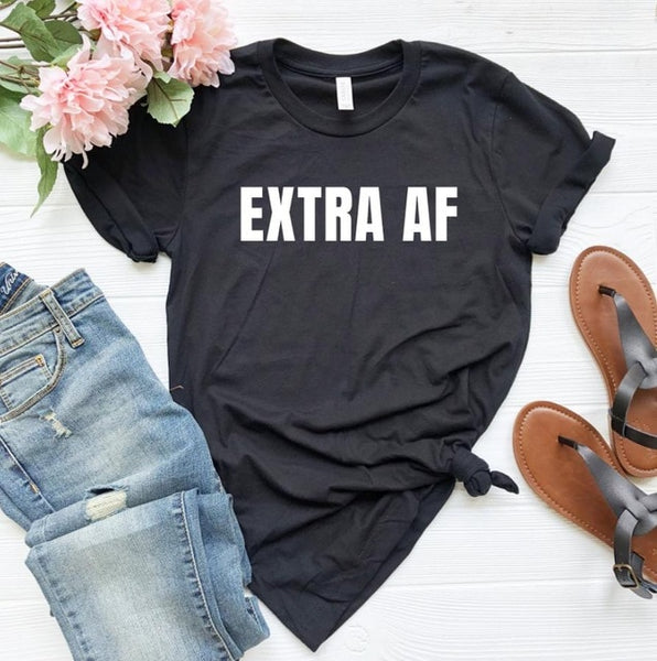 Extra Af Women Casual T-Shirt Cotton Hipster Funny Slogan Xxs-Xxxl-Black-XXS-Product Details Gender: WomenItem Type: TopsTops Type: TeesMaterial: COTTONStyle: CasualFabric Type: BroadclothSleeve Length(cm): ShortColors: Pink, Grey, Black, WhiteClothing Length: REGULARPattern Type: LetterCollar: O-NeckSleeve Style: REGULAR-Keyomi-Sook