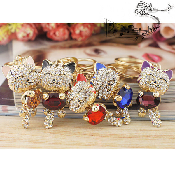 Free Rhinestone Crystal Cat Key Chains Holder Multi-Color Stone Key-Rings-Free-Black-Keyomi-Sook