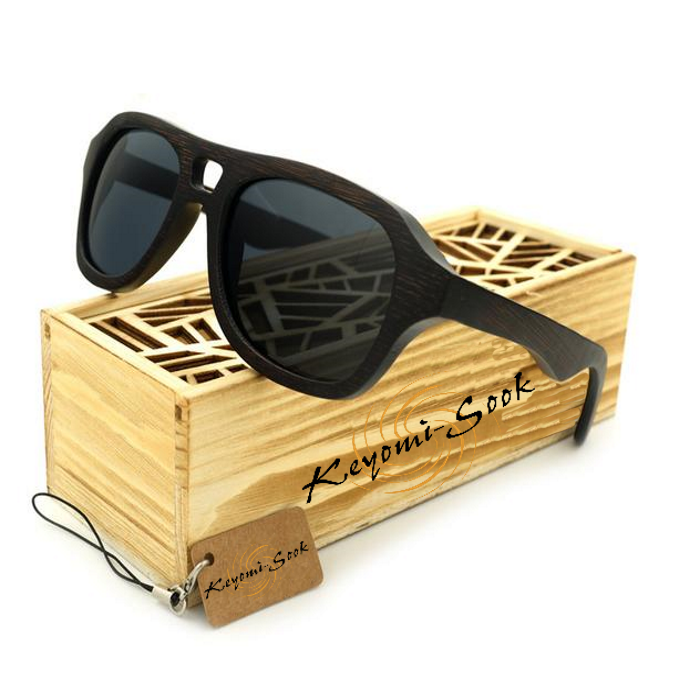 100% Natural Mens Bamboo Vintage Wooden Pilot Sunglasses-Wooden Sunglasses-Gray Lens-Keyomi-Sook