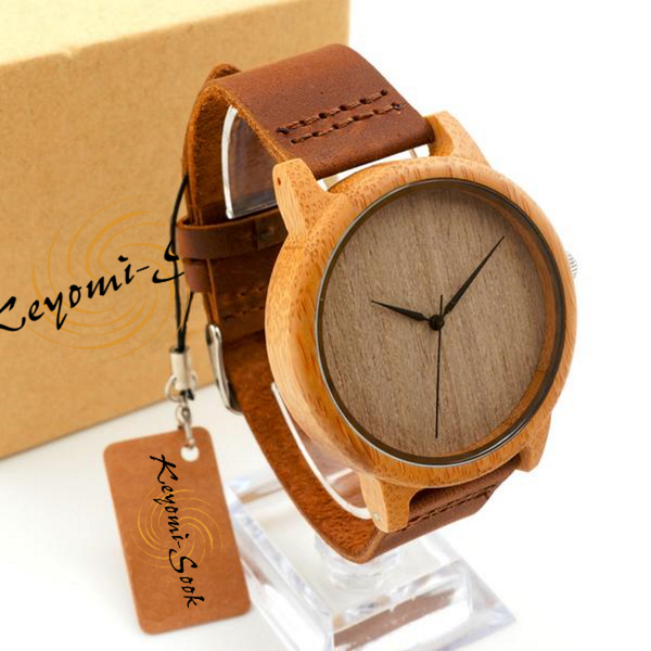 Wooden Bamboo Cowhide Leather Band Men'S Luxury Watch-Unisex Watch-Having Trouble Finding A Stylish Watch Because Of Skin Sensitivity Buy This Men's Bamboo Wooden Wristwatches With Genuine Cowhide Leather Band If Not You Then Give This Luxury Wood Watch As Gifts Item For That Special Someone Who Does. Product Details Item Type: Quartz Wristwatches Case Material: Stainless Steel Dial Window Material Type: Glass Water Resistance Depth: No waterproof Movement: Quartz Clasp Type: Buckle Boxes & Case