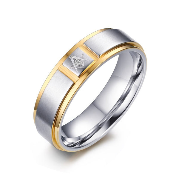 Free 18K Gold Plated Stainless Steel Men Masonic Rings-Free-9 (59mm)-Keyomi-Sook