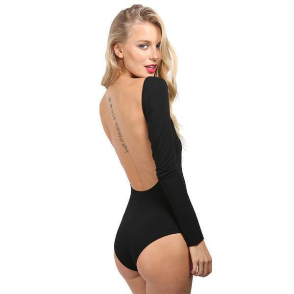 "Long Sleeve Backless Rompers Sexy Ladies Top-Romper-Black-S  (34.6"" B / 26.8"" S/ 18.5""L / 10.6""H)-Keyomi-Sook"