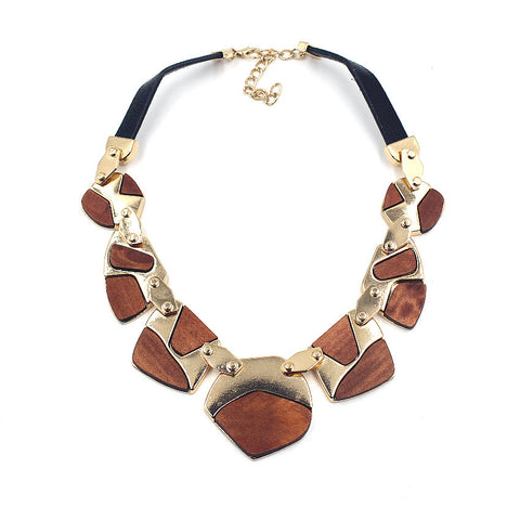 Aztec Inspired Wooden Choker Necklace