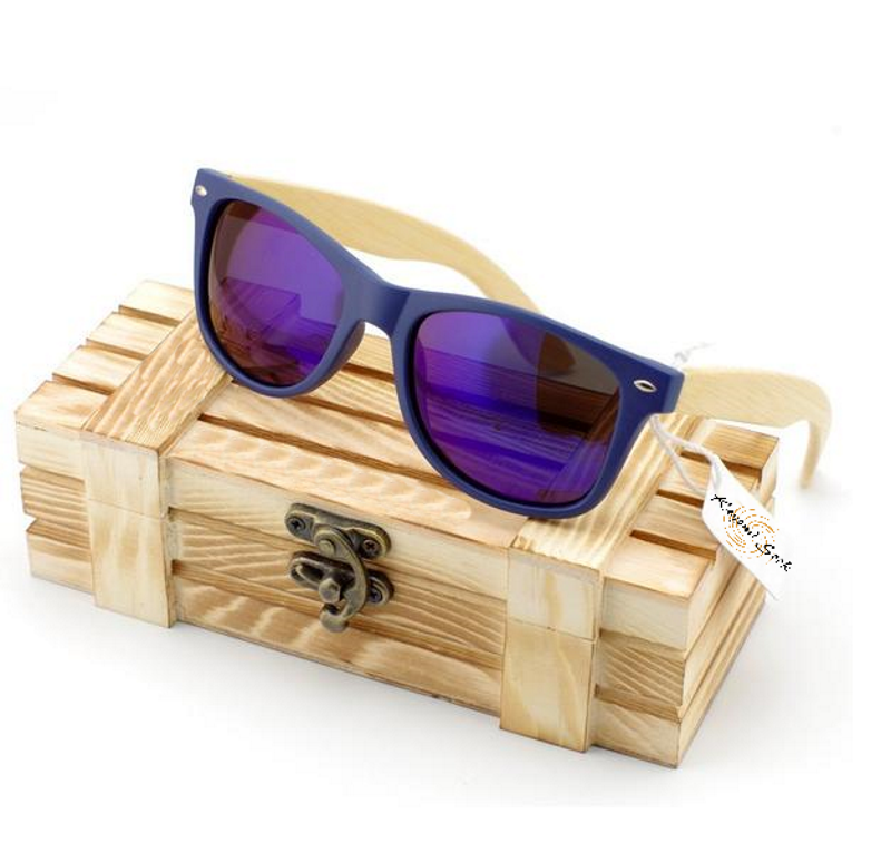 Vintage Style Men'S Or Women'S Bamboo Wood Sunglasses-Unisex Sunglasses-Blue-Keyomi-Sook