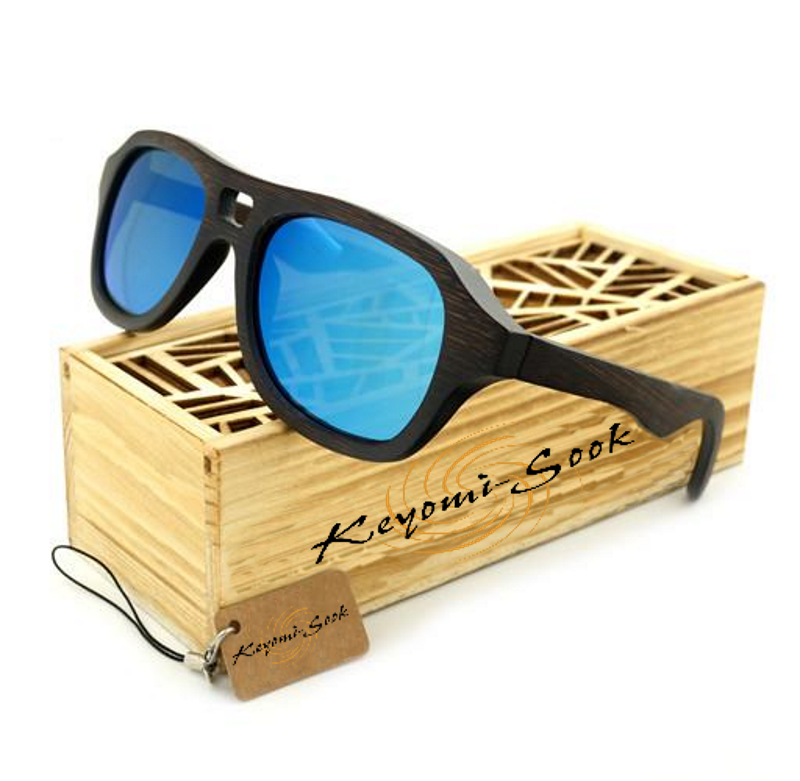 100% Natural Mens Bamboo Vintage Wooden Pilot Sunglasses-Wooden Sunglasses-Blue Lens-Keyomi-Sook