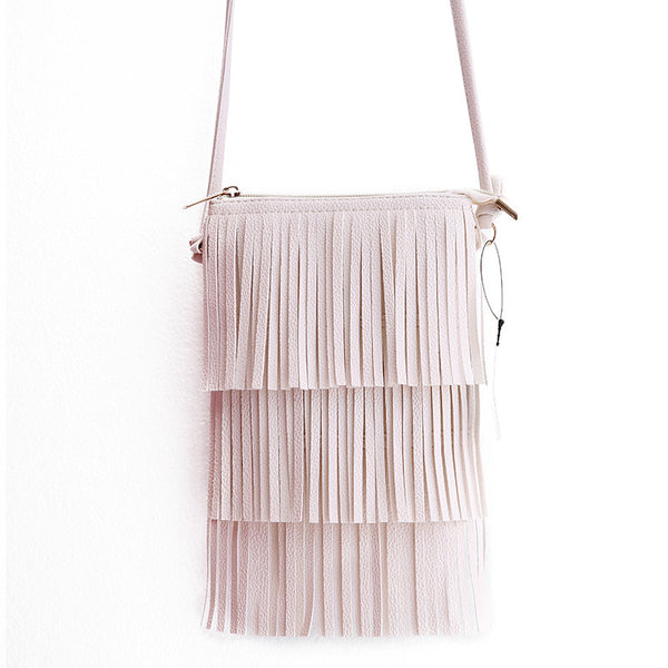 Ladies Purses Fringe Vintage Mini Cross-Body Tassel Bags-Women's Purse-Beige-Keyomi-Sook