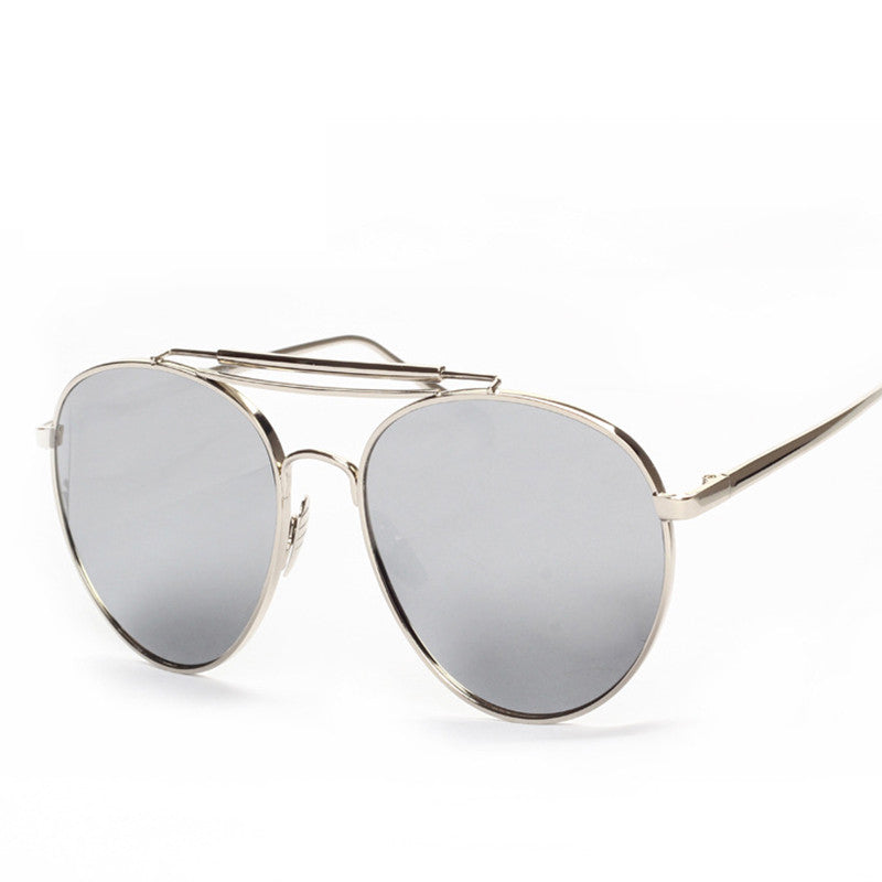 Ladies Popular Big Frame Pilot Sun Glasses The Newest Trend-Ladies Sun Glasses-Silver/Silver C1-Keyomi-Sook