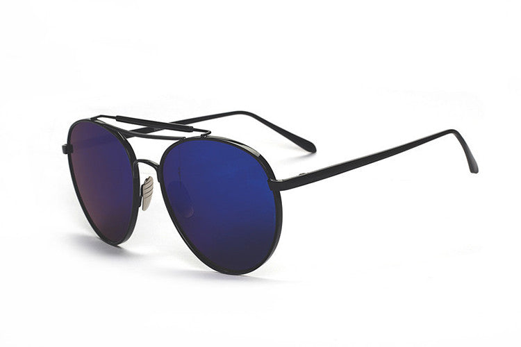 Ladies Popular Big Frame Pilot Sun Glasses The Newest Trend-Ladies Sun Glasses-Black/ Blue C4-Keyomi-Sook