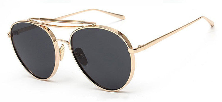 Ladies Popular Big Frame Pilot Sun Glasses The Newest Trend-Ladies Sun Glasses-Gold/ Grey C6-Keyomi-Sook
