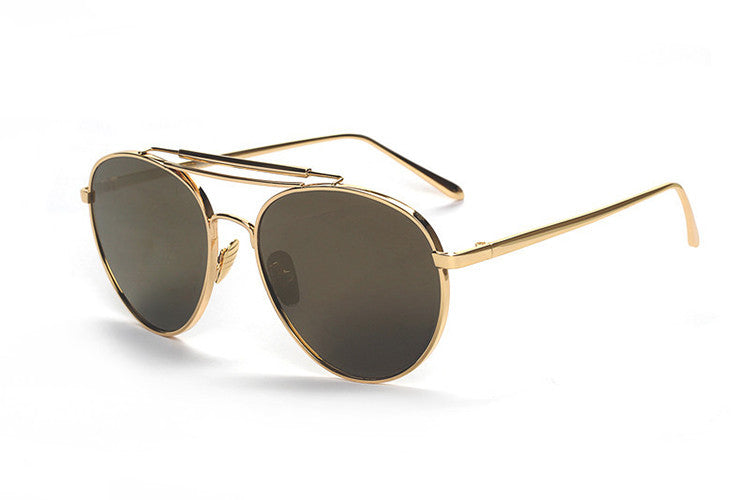 Ladies Popular Big Frame Pilot Sun Glasses The Newest Trend-Ladies Sun Glasses-Gold/Golden C2-Keyomi-Sook