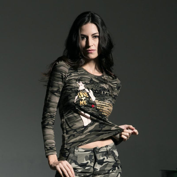 "Ladies Camouflage Long Sleeve T-Shirt Top Ladies Casual-Women's Top(s)-camouflage-L  (14.17"" S / 33.07"" B / 22.44"" L)-Nice Casual Women's Long Sleeve Tee made with Cotton, Broadcloth, And Lace Is To Go-To In Casual Ladies Wear. Color Style Is Natural Color comes In An Assortment of Sizes. Hand Picked by Stylist, Fashion Blowout Savings, Hard to find Items, Variety Of Styles, All Highest Quality, Latest Urban Trends, Great Prices, Lots of Saving on Trendy Items. GET YOURS TODAY!! Product Details"