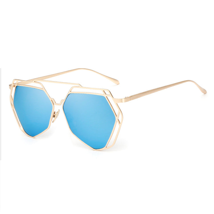 Big Mirror Designer Ladies Sunglasses-Women Sunglasses-Blue-Product Details Women's Hexagon Shaped Eyewear You Will love To Step Out Into The Sun; Hippie Lovers, Live in An Array of Sun With UV400 Protection Ladies Pilot Sunglasses In The Product Picture Is The Rose Gold Sun Glasses BUY NOW!!! PRODUCT DETAILS Style: ButterflyLenses Optical Attribute: Mirror, Anti-Reflective, UV400Frame Material: AlloyLens Width: 65 mmLens Height: 56 mmLenses Material: PolycarbonateModel Number: sunglassesSuitabl
