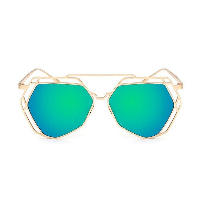 Big Mirror Designer Ladies Sunglasses-Women Sunglasses-Green-Product Details Women's Hexagon Shaped Eyewear You Will love To Step Out Into The Sun; Hippie Lovers, Live in An Array of Sun With UV400 Protection Ladies Pilot Sunglasses In The Product Picture Is The Rose Gold Sun Glasses BUY NOW!!! PRODUCT DETAILS Style: ButterflyLenses Optical Attribute: Mirror, Anti-Reflective, UV400Frame Material: AlloyLens Width: 65 mmLens Height: 56 mmLenses Material: PolycarbonateModel Number: sunglassesSuitab