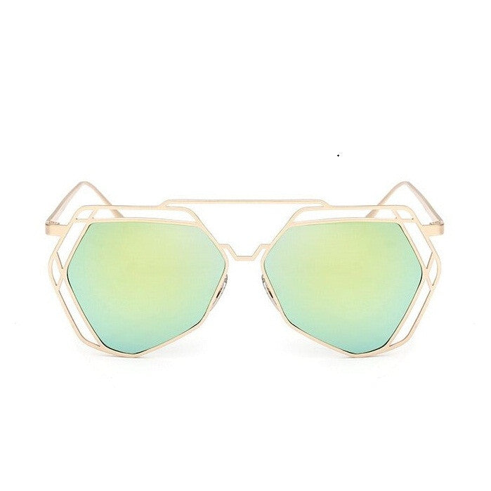 Big Mirror Designer Ladies Sunglasses-Women Sunglasses-Green Yellow-Product Details Women's Hexagon Shaped Eyewear You Will love To Step Out Into The Sun; Hippie Lovers, Live in An Array of Sun With UV400 Protection Ladies Pilot Sunglasses In The Product Picture Is The Rose Gold Sun Glasses BUY NOW!!! PRODUCT DETAILS Style: ButterflyLenses Optical Attribute: Mirror, Anti-Reflective, UV400Frame Material: AlloyLens Width: 65 mmLens Height: 56 mmLenses Material: PolycarbonateModel Number: sunglasse