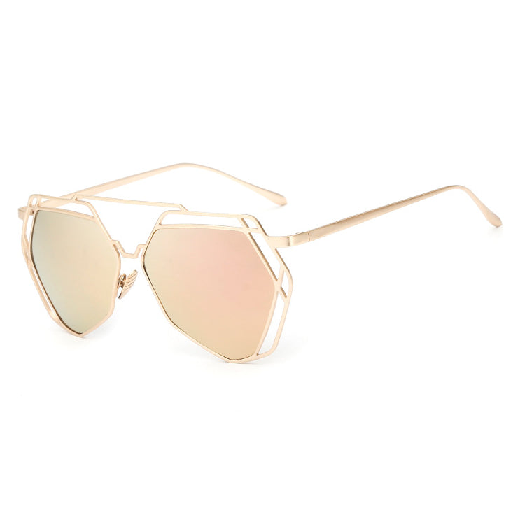 Big Mirror Designer Ladies Sunglasses-Women Sunglasses-Product Details Women's Hexagon Shaped Eyewear You Will love To Step Out Into The Sun; Hippie Lovers, Live in An Array of Sun With UV400 Protection Ladies Pilot Sunglasses In The Product Picture Is The Rose Gold Sun Glasses BUY NOW!!! PRODUCT DETAILS Style: ButterflyLenses Optical Attribute: Mirror, Anti-Reflective, UV400Frame Material: AlloyLens Width: 65 mmLens Height: 56 mmLenses Material: PolycarbonateModel Number: sunglassesSuitable Fac