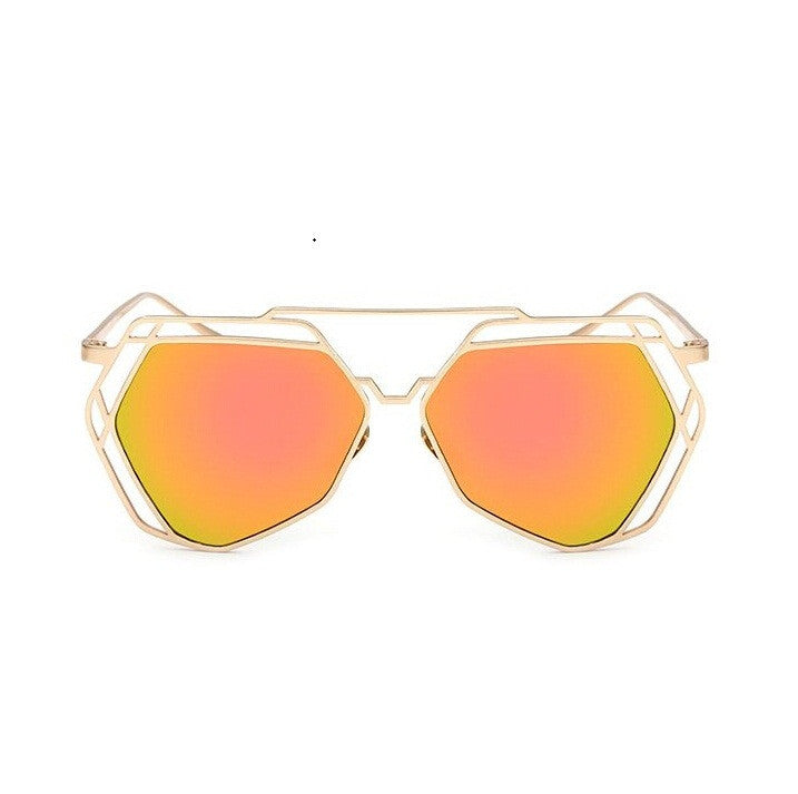 Big Mirror Designer Ladies Sunglasses-Women Sunglasses-Red-Product Details Women's Hexagon Shaped Eyewear You Will love To Step Out Into The Sun; Hippie Lovers, Live in An Array of Sun With UV400 Protection Ladies Pilot Sunglasses In The Product Picture Is The Rose Gold Sun Glasses BUY NOW!!! PRODUCT DETAILS Style: ButterflyLenses Optical Attribute: Mirror, Anti-Reflective, UV400Frame Material: AlloyLens Width: 65 mmLens Height: 56 mmLenses Material: PolycarbonateModel Number: sunglassesSuitable