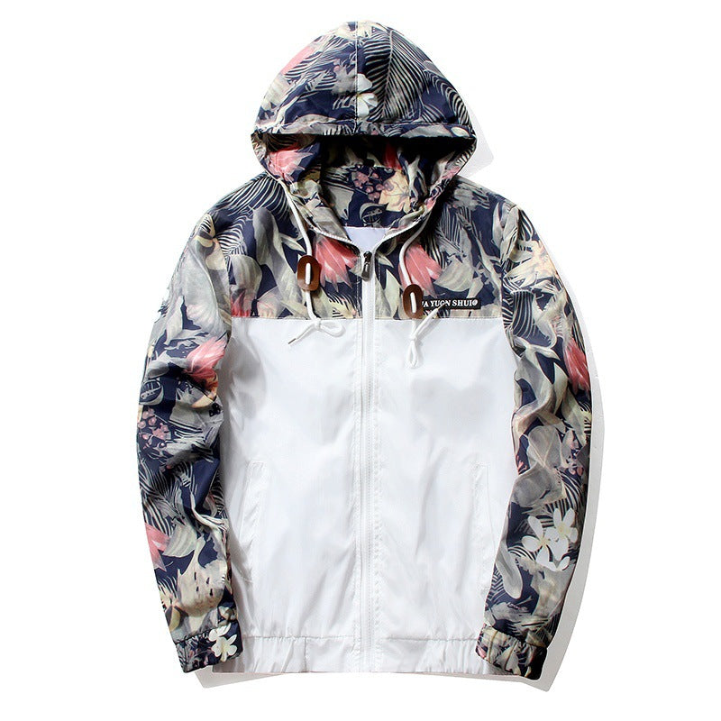 Brocade Crown Imperial Urban Floral Print Windbreaker Hoodie Up To 4Xl-Men's Jacket-White-M-Keyomi-Sook