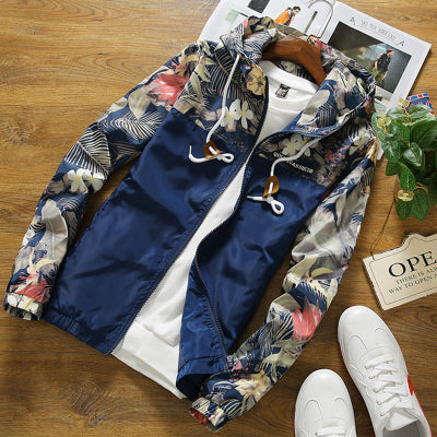 Brocade Crown Imperial Urban Floral Print Windbreaker Hoodie Up To 4Xl-Men's Jacket-Navy-4XL-Keyomi-Sook