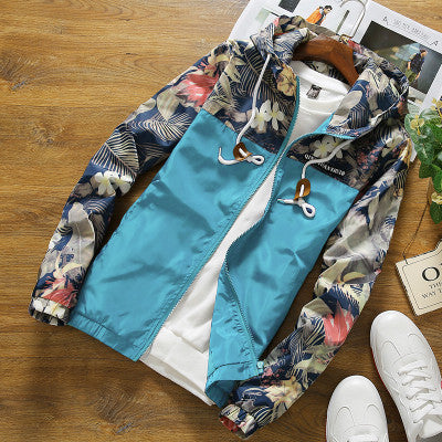 Brocade Crown Imperial Urban Floral Print Windbreaker Hoodie Up To 4Xl-Men's Jacket-Sky blue-4XL-Keyomi-Sook
