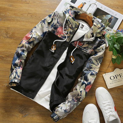 Brocade Crown Imperial Urban Floral Print Windbreaker Hoodie Up To 4Xl-Men's Jacket-Black-4XL-Keyomi-Sook