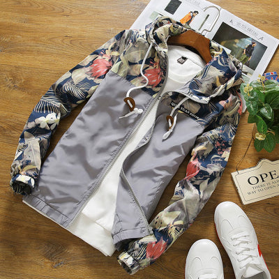 Brocade Crown Imperial Urban Floral Print Windbreaker Hoodie Up To 4Xl-Men's Jacket-Gray-4XL-Keyomi-Sook