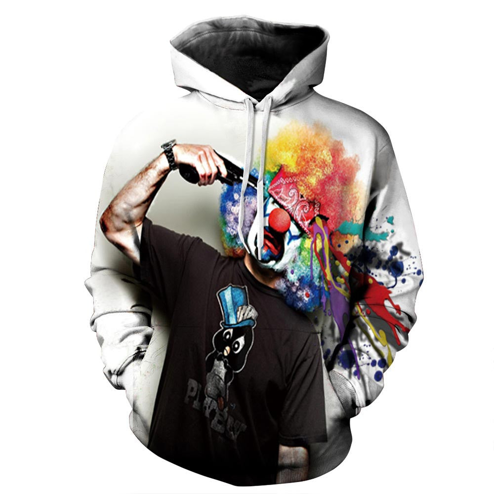 "Hoodie Clown Graphic Print Urban Wear Sweatshirt Men'S Sportswear-Sweatshirts-2XL  (120 CM=47.2""B ) / (72 CM=28.3""L)-Keyomi-Sook"