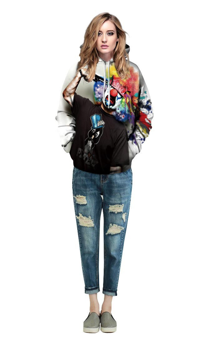 "Hoodie Clown Graphic Print Urban Wear Sweatshirt Men'S Sportswear-Sweatshirts-S (108 CM=42.5"" B) / (67 CM=26.4"" L)-Keyomi-Sook"