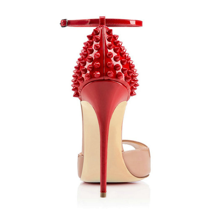 Red Spike S And M Women'S High Heel Peep Toe Red Sandals Fashion Shoes-High Heels-Nude-4-Keyomi-Sook
