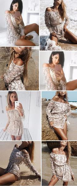 Sexy Off The Shoulders Romper Long Sleeve Jumpsuit Party Club Wear-Romper-Gold-S-Keyomi-Sook