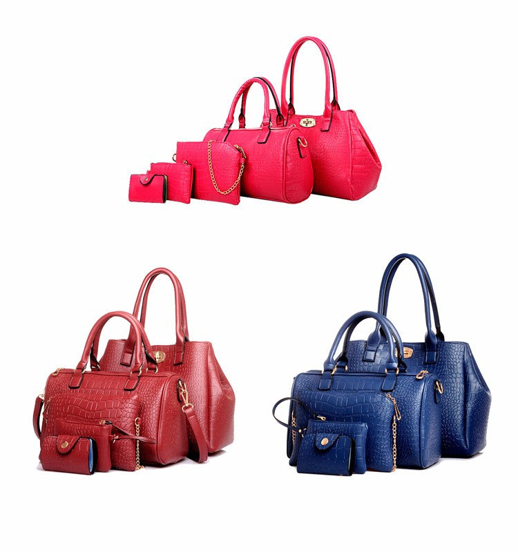 5 Pieces Women'S Alligator Print Handbags-Women's Hand Bags-Blue Handbag-37cm-Keyomi-Sook